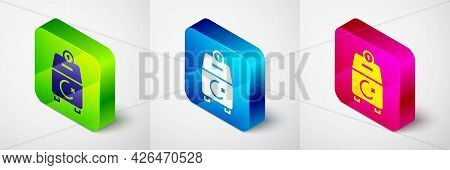 Isometric Donate Or Pay Your Zakat As Muslim Obligatory Icon Isolated On Grey Background. Muslim Cha