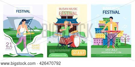 Open Air Concert In Outdoor Summer Music Festival In South Korean City Busan With Cityscape Promotio