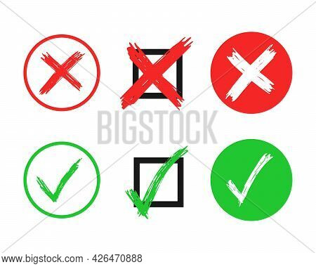 Set Of Six Hand Drawn Check And Cross Sign Elements Isolated On White Background. Grunge Doodle Gree