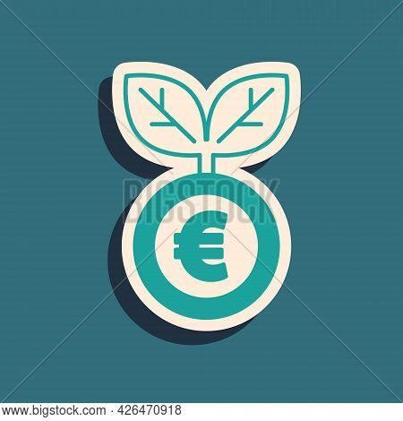 Green Euro Plant Icon Isolated On Green Background. Business Investment Growth Concept. Money Saving