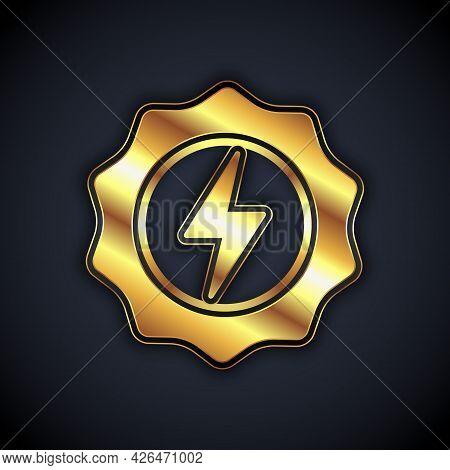 Gold Lightning Bolt Icon Isolated On Black Background. Flash Sign. Charge Flash Icon. Thunder Bolt.