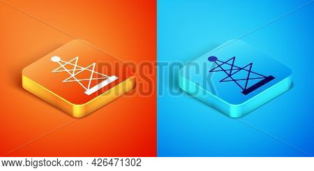 Isometric Electric Tower Used To Support An Overhead Power Line Icon Isolated On Orange And Blue Bac