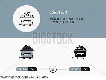 Coal Icons Set Editable Stroke Vector Illustration. Energy Power Resource Symbol. Icon Line Style On