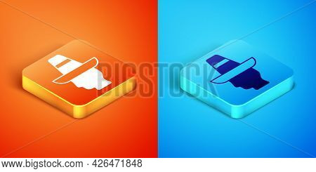 Isometric Mexican Man Wearing Sombrero Icon Isolated On Orange And Blue Background. Hispanic Man Wit