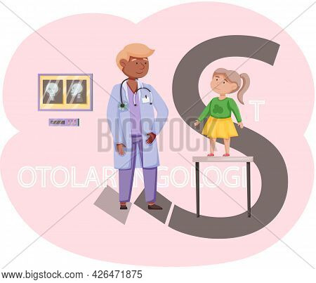 Little Girl Medical Examination In Office Of Otolaryngologist. Doctor Takes Care Of Patients Works I
