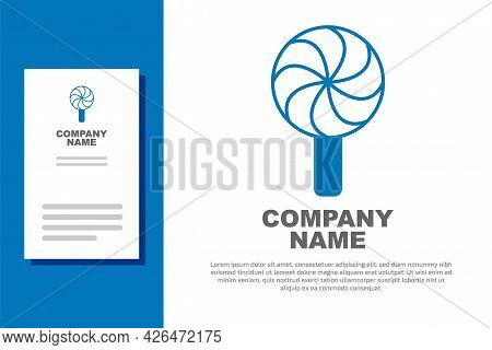 Blue Lollipop Icon Isolated On White Background. Candy Sign. Food, Delicious Symbol. Logo Design Tem