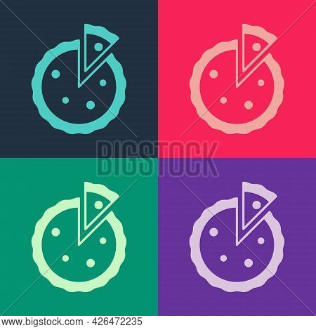 Pop Art Homemade Pie Icon Isolated On Color Background. Vector