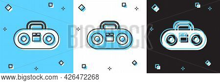 Set Home Stereo With Two Speakers Icon Isolated On Blue And White, Black Background. Music System. V