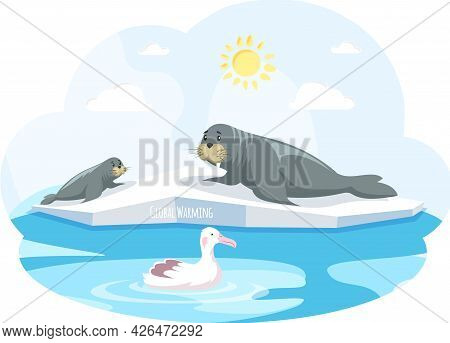 Walruses Lie On Ice Floe And Are Saved From Climate Change And Global Warming. Animals During Global