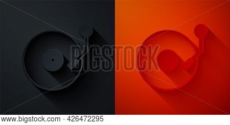 Paper Cut Vinyl Player With A Vinyl Disk Icon Isolated On Black And Red Background. Paper Art Style.