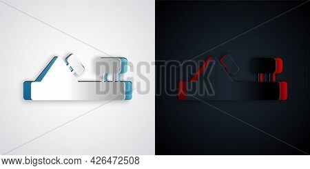 Paper Cut Wood Plane Tool For Woodworker Hand Crafted Icon Isolated On Grey And Black Background. Jo