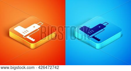 Isometric Electric Jigsaw With Steel Sharp Blade Icon Isolated On Orange And Blue Background. Power