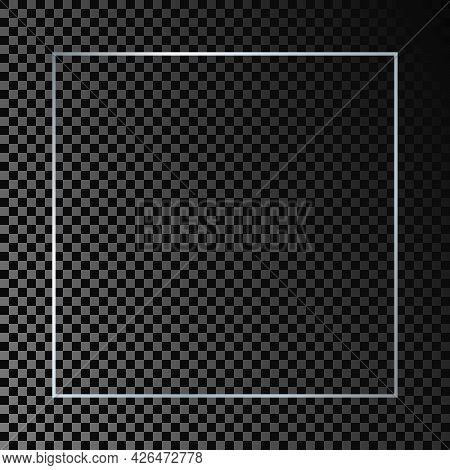 Silver Glowing Square Frame Isolated On Dark Transparent Background. Shiny Frame With Glowing Effect