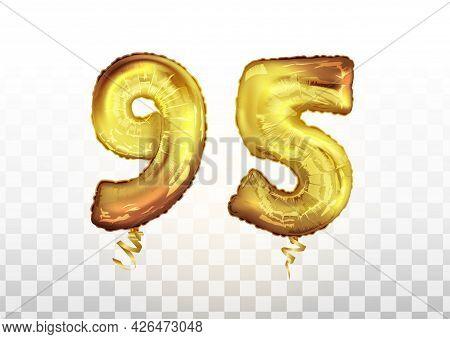 Vector Golden Foil Number 95 Ninety Five Metallic Balloon. Party Decoration Golden Balloons. Anniver