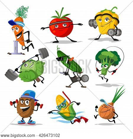 Vegetables Sports Characters. Funny Vegetable Food Set With Laughing And Happy Faces In Sport Exerci
