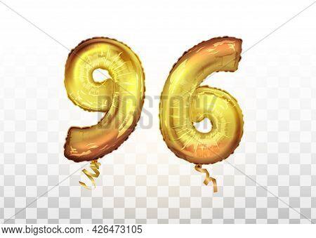 Vector Golden Foil Number 96 Ninety Six Metallic Balloon. Party Decoration Golden Balloons. Annivers