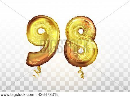 Vector Golden Foil Number 98 Ninety Eight Metallic Balloon. Party Decoration Golden Balloons. Annive