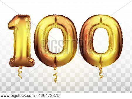 Vector Golden Foil Number 100 Hundred Metallic Balloon. Party Decoration Golden Balloons. Anniversar