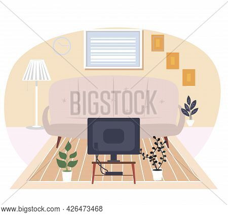 Modern Living Room Vector Illustration. Comfortable Couch Near Tv On Small Table. Recreation Time. A