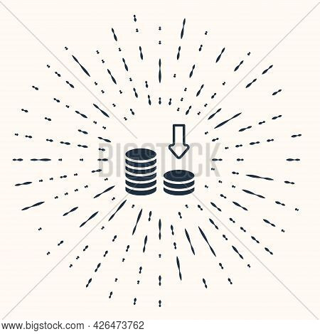 Grey Dollar Rate Decrease Icon Isolated On Beige Background. Cost Reduction. Money Symbol With Down
