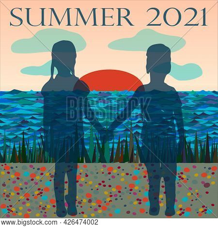 Vacation At The Summer Camp By The Sea. Children Hold Hands And Look Into The Distance. Vector Poste