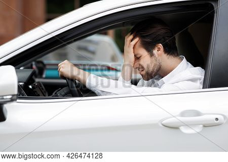 Upset Driver, Stressful Situations On Road And Fast Rhythm In Modern City