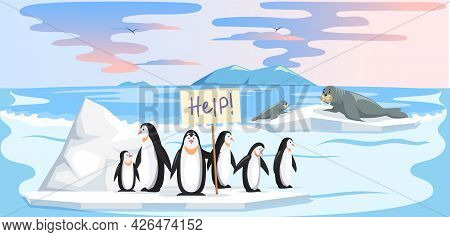 Wild Animals Living In Antarctica Suffer From Global Warming. Cute Penguins And Walruses On Ice Floe
