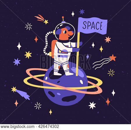 Dog Astronaut In Space Suit On Planet With Flag. Cute Funny Animal Traveling In Cosmos. Puppy Cosmon