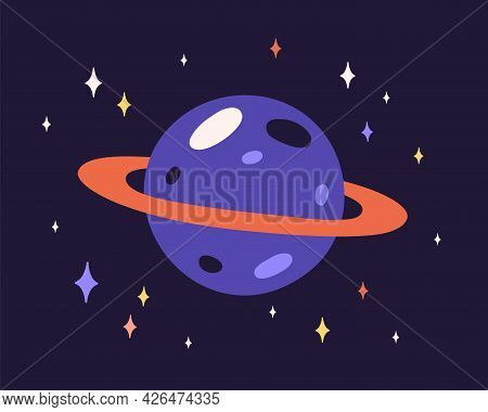Abstract Planet Sphere With Craters On Surface And Ring Around. Alien World With Cosmic Globe And St