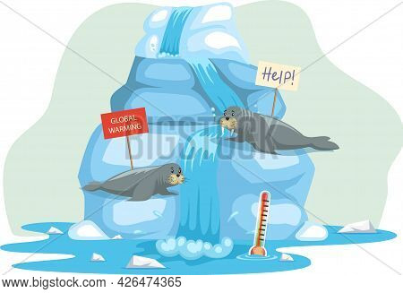 Walruses Lie On Iceberg And Escape From Climate Change And Global Warming. Animals During Global War
