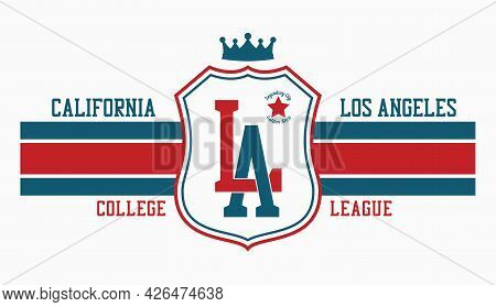 La T-shirt Design With Shield And Crown. Los Angeles, California Typography Graphics For College Tee