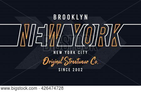 New York, Brooklyn Design For T-shirt. Stylish Tee Shirt Print With Line Style Colorful Text. Typogr