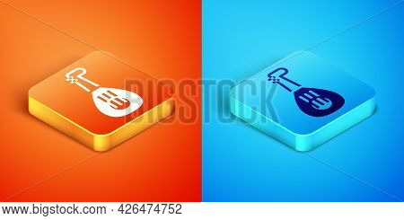Isometric Musical Instrument Lute Icon Isolated On Orange And Blue Background. Arabic, Oriental, Gre