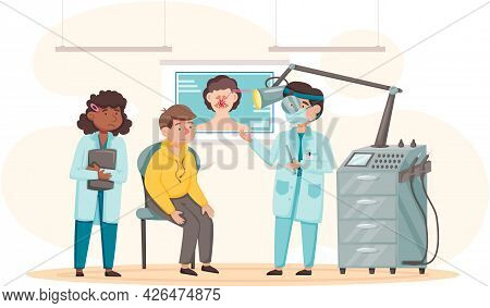 Health Care, Medical Examination, Patient At Doctor S Appointment. Nurse And Doctor Treating Man S S