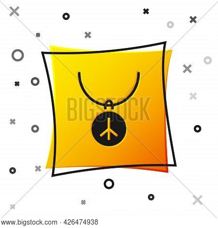 Black Necklace With Peace Symbol Icon Isolated On White Background. Hippie Symbol Of Peace. Yellow S