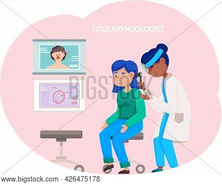 Otolaringologyst Takes Care Of People S Health In Hospital. Doctor Uses Otoscope And Examines Patien