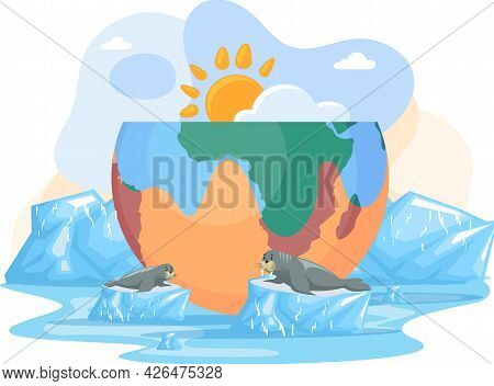 Temperature Rising And Animal Extinction Concept. Melting Glaciers, Global Warming And Climate Chang