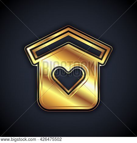 Gold Shelter For Homeless Icon Isolated On Black Background. Emergency Housing, Temporary Residence