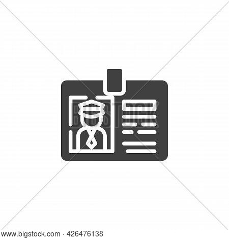 Taxi Driver License Vector Icon. Filled Flat Sign For Mobile Concept And Web Design. Taxi License Ba