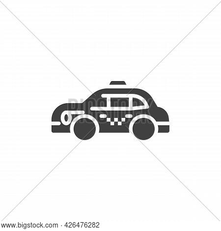 Taxi Cab Vector Icon. Filled Flat Sign For Mobile Concept And Web Design. Taxi Car Glyph Icon. Symbo