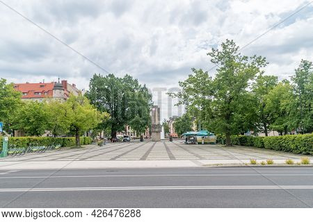 Zielona Gora, Poland - June 1, 2021: Heroes Square With Monument To The Heroes Of The Second World W