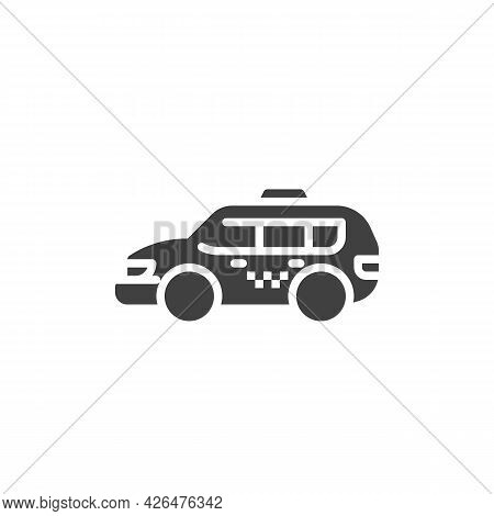 Minivan Taxi Service Vector Icon. Filled Flat Sign For Mobile Concept And Web Design. Taxi Cab Glyph