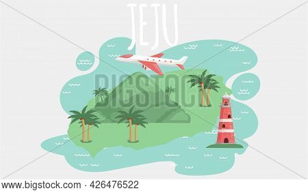 Jeju Island In South Korea, Tourist Tour Banner. Summer Vacation, Active Tour With Famous Attraction