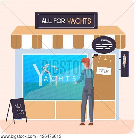 Buying Motorboat, Boat Selling, All For Yachts Shop. Transport Advertising Company E-commerce Concep