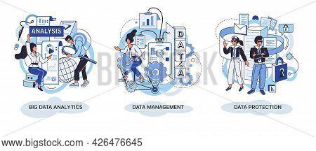 Big Data Analytics Concept. Modern Data Management Computer Technology. Protection Of Data. Analyzin