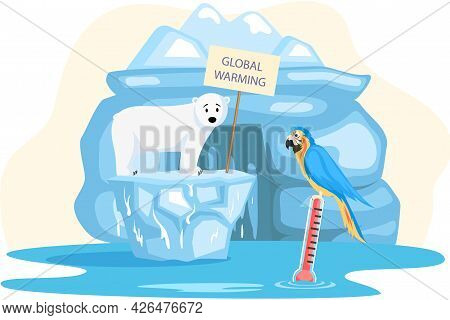 Polar Bear And Parrot On Melting Ice In Sea At North Pole Arctic. Global Warming Concept. Increasing
