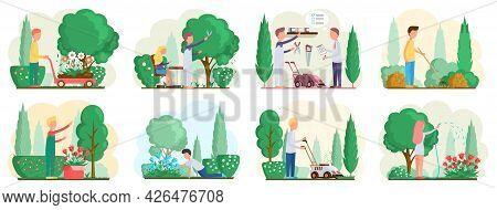 Seasonal Gardening With Characters Of Gardeners Working In Outdoor Garden Scenes Set With People Gro