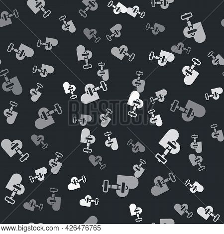 Grey Dumbbell With Heart Icon Isolated Seamless Pattern On Black Background. Muscle Lifting, Fitness