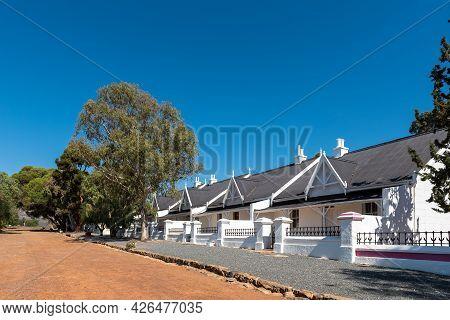Matjiesfontein, South Africa - April 20, 2021: A Street Scene, With Buildings, In Matjiesfontein In