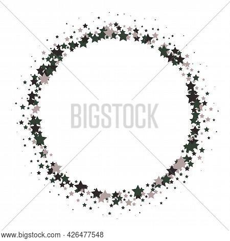 Platinum Stars Confetti Adorable Birthday Vector Background. Frame Design Elements